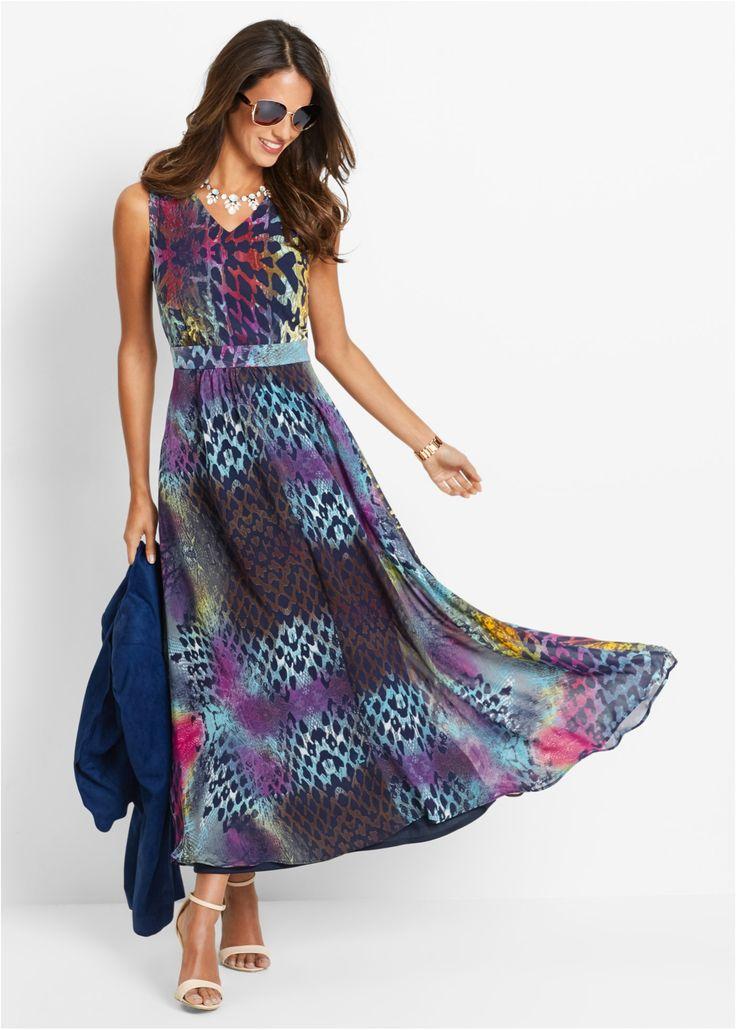 Bekijk nu:Enkellange jurk van chiffon met flatterende drapering in de taille en elastisch inzetstuk achter. Lengte in alle maten ca. 136 cm, machinewasbaar.