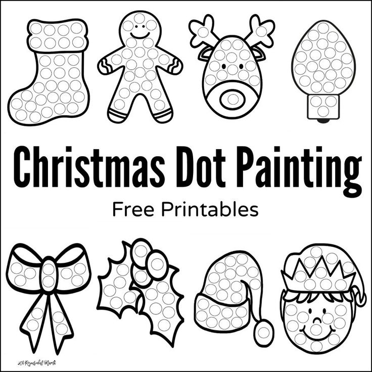 These Christmas Dot Painting worksheets are a fun mess free painting activity for young kids that work on hand-eye coordination and fine motor skills.