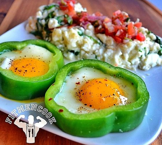 "Bell Pepper Rings with ""Fit Grits,"" Egg Whites and Pico de Gallo. Morning Nutrition: 7 Muscle-Building Breakfasts. Bodybuilding.com"
