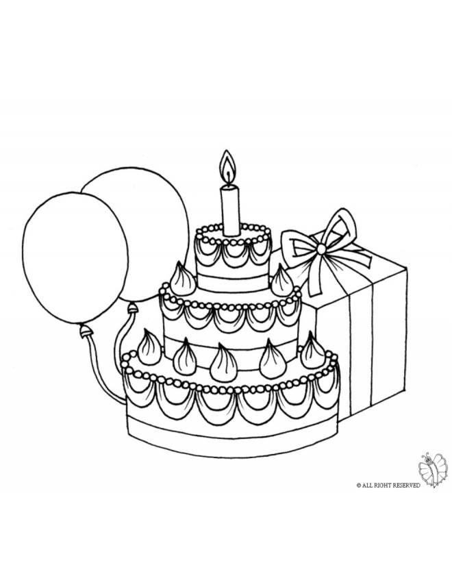 Disegni Da Colorare Per Compleanno Bambina.Disegno Torta Compleanno Con Palloncini Disegni Da Colorare E