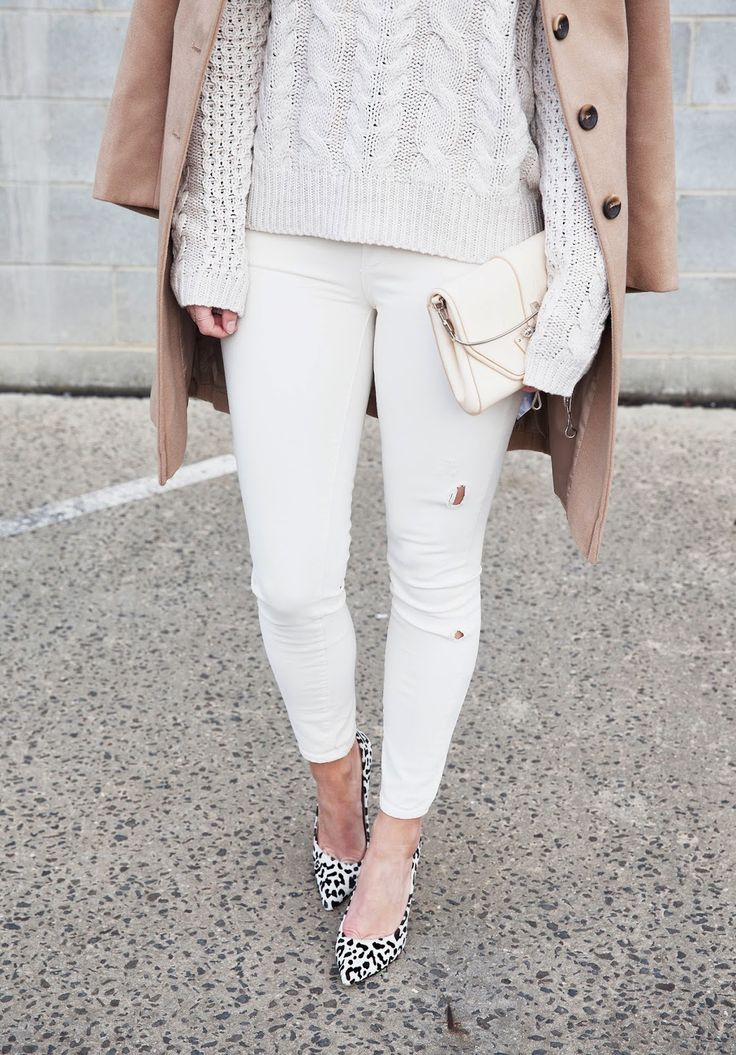 Cool street style, with white + knits + leopard print shoes!