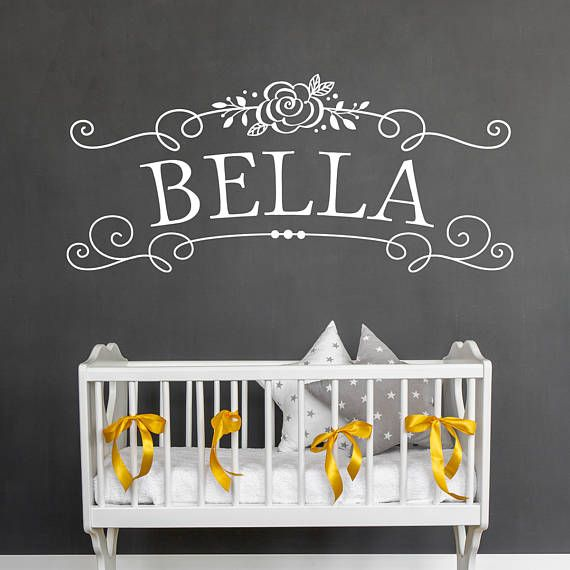 Girls Name - Nursery Wall Decal This custom wall is personalized with your childs name and looks lovely above a crib or bed. Questions? Convo us! If you have any questions feel free to call us at (314)503-5848 or e-mail us at jan@oldbarnrescue.com. ABOUT OUR WALL GRAPHICS: *All Old Barn Rescue Company graphics are copyright designs. They are for personal use only and may not be used in resale. Our vinyl has a matte finish and can go on any CLEAN, smooth, dry, non-porous surface (wall, gl...