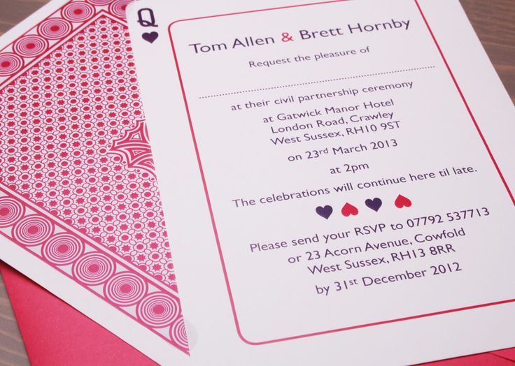 110 best design playing cards invite images on pinterest pink playing card wedding invitation from sussexandsurreyinvitations could suit pink wedding or stopboris Image collections