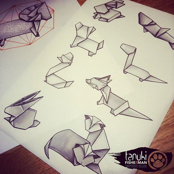 Tatouage origami par tanuki fisherman