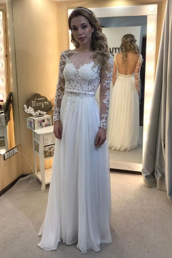 7e8b994a546 Unique Tulle Chiffon A-line Scoop Neck Long Sleeve Backless Wedding Dresses
