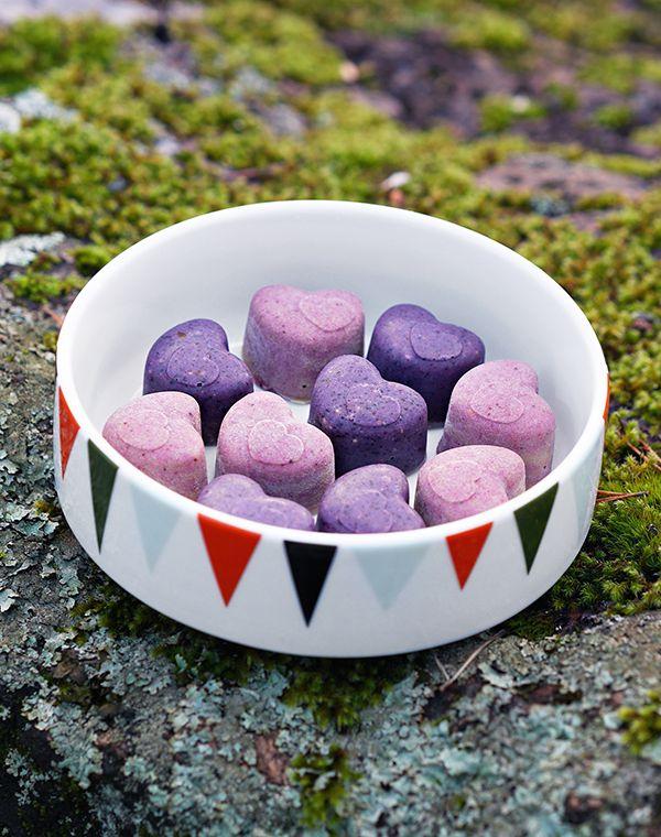 Blueberry and raspberry raw  chocolates