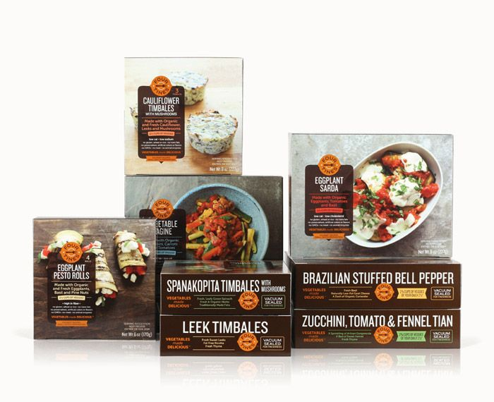 """from Jjaakk: """"Identity and packaging for a line of gourmet frozen vegetable entrées. Editorial-style photography accompanied by a structured, modern design allows these savory dishes to take center stage."""""""