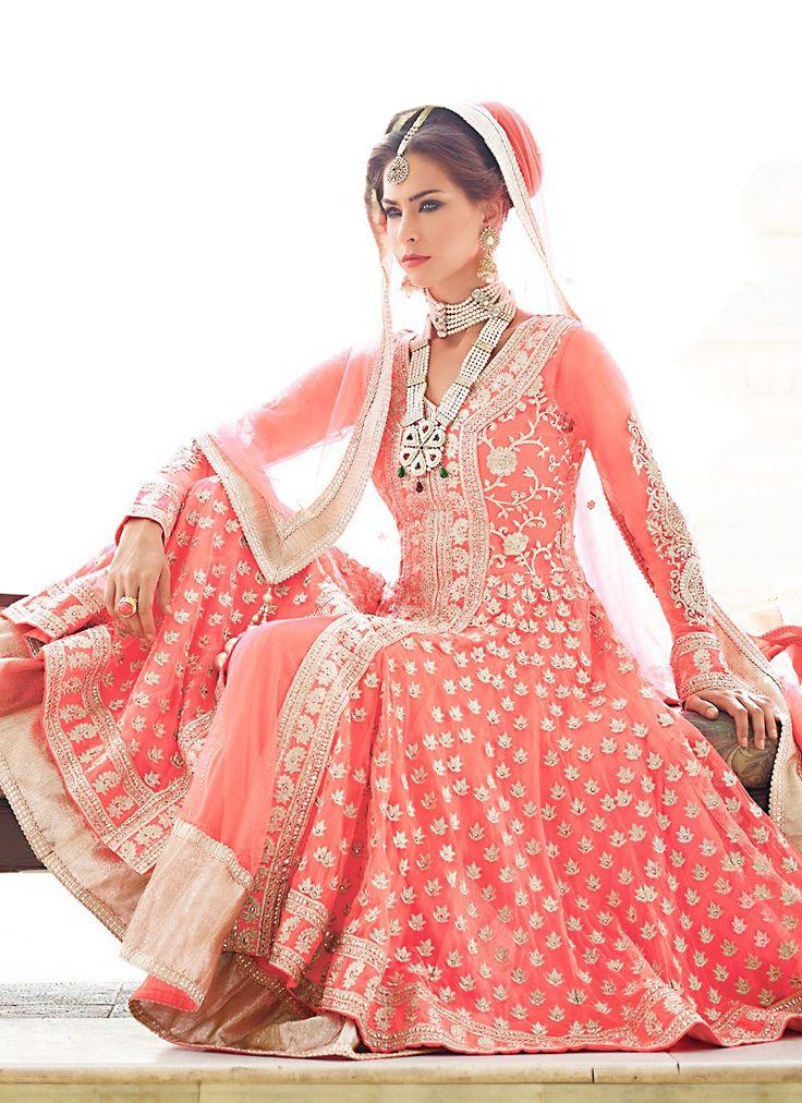 Splendorous Salmon Salwar Kameez | Discover more south asian wedding inspiration at www.shaadibelles.com