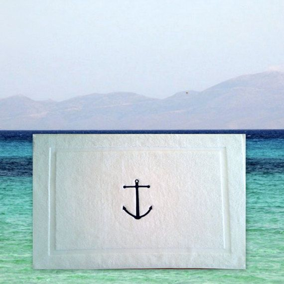 Nautical his and hers BATH MAT-Tub mat Ancor by letsdecorateonline