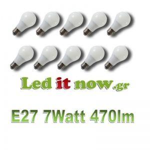 V-TAC LED Λάμπα E27 7Watt (Α60) 270° 470lm 3000K 10 TEMAXIA