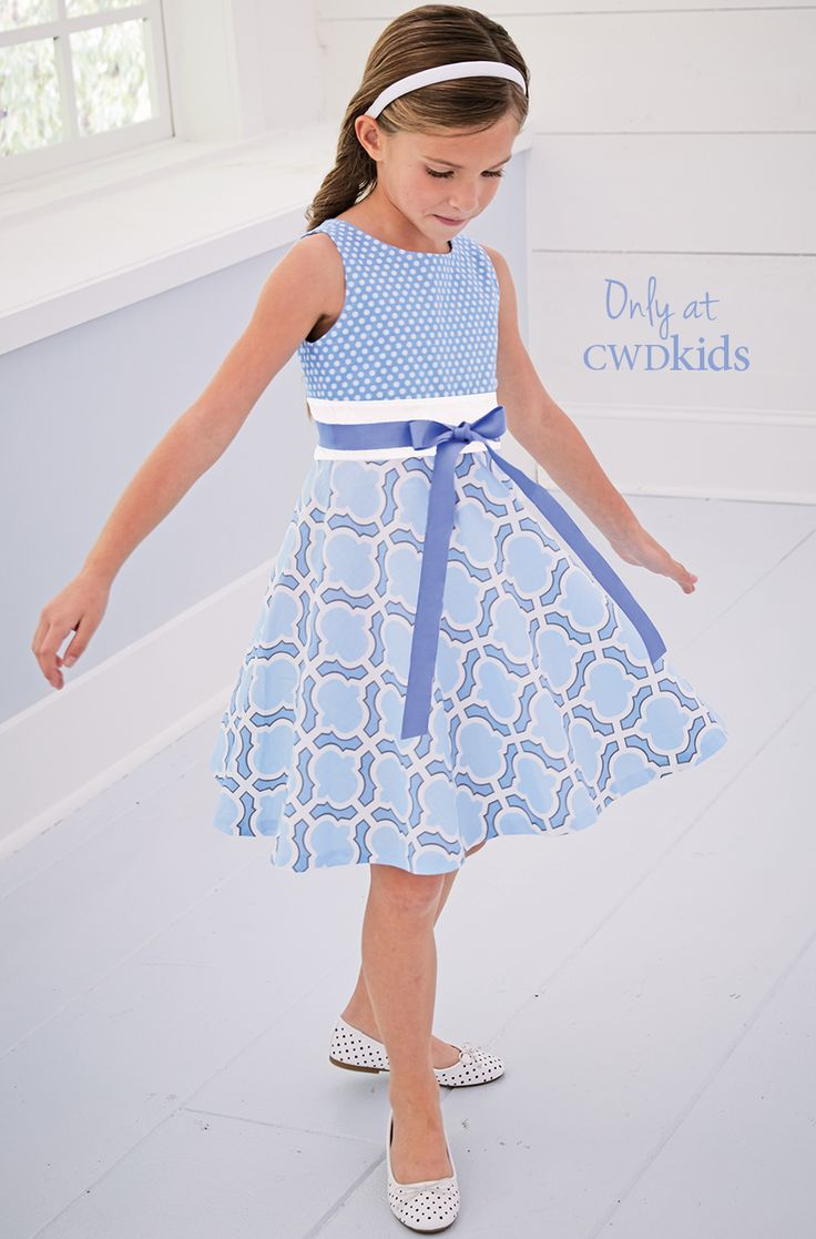 From CWDkids: Light Blue Mixed Print Dress