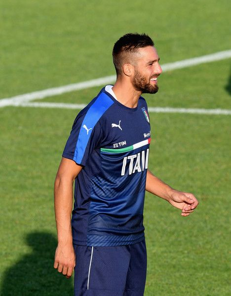 Leonardo Pavoletti of Italy looks on during the training session at the club's training ground at Coverciano on August 29, 2016 in Florence, Italy.