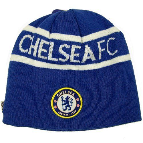 CHELSEA FC SOCCER REVERSIBLE BEANIE KNIT HAT CAP by Chelsea F.C.. $8.94. Chelsea FC fans can stay stylish and show their team spirit with this official logo beanie cap.  Reversible design features team logo patch on one side and embroidered team logo on the striped side. Team colors on both sides! Top-quality construction. Built to last for seasons to come. Perfect for guys and girls. 100% Acrylic construction. Super soft and warm. Hand washable. Adult One Size Fits Most. Offi...