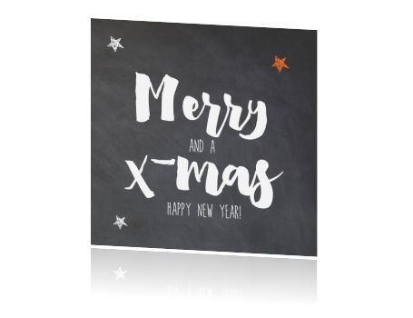 Stoer kerstkaartje met krijtbord achtergrond en handlettering
