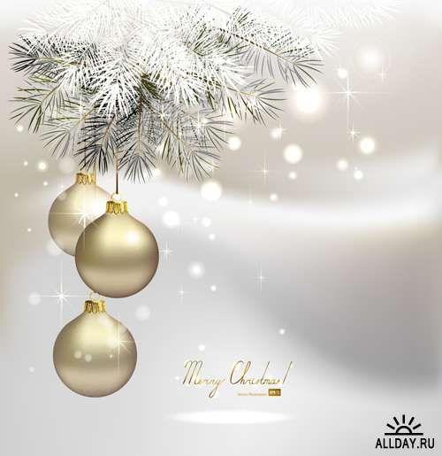 Серебряные новогодние украшения - Векторный клипарт | Silver xmas decorations - Stock Vectors