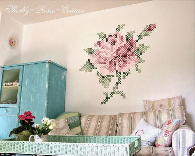 Rosa pared deco pinterest for Cross stitch wall mural