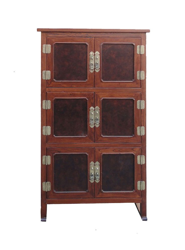 Tall Korean Burl Wood Accent Multiple Shelves Storage Cabinet wk2497S