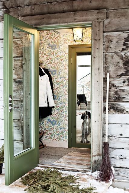 Scandinavian retreat Josef frank wallpaper in the mud room