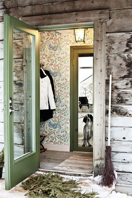 Scandinavian retreat Josef frank wallpaper in the mud room