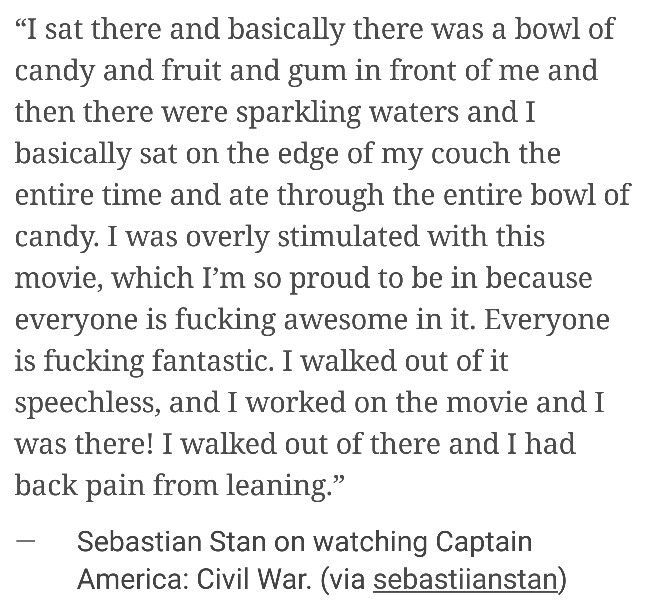 He walked out of it speechless.  I'm definitely not walking out alive.  #civilwar #sebastianstan #interview
