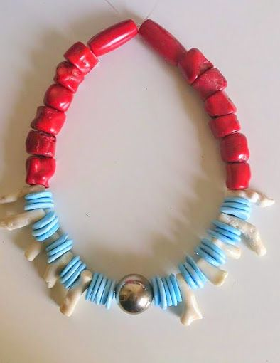 Chunky natural red and white corals blue glass beads moroccan silver dome bead https://www.etsy.com/shop/FanmMon
