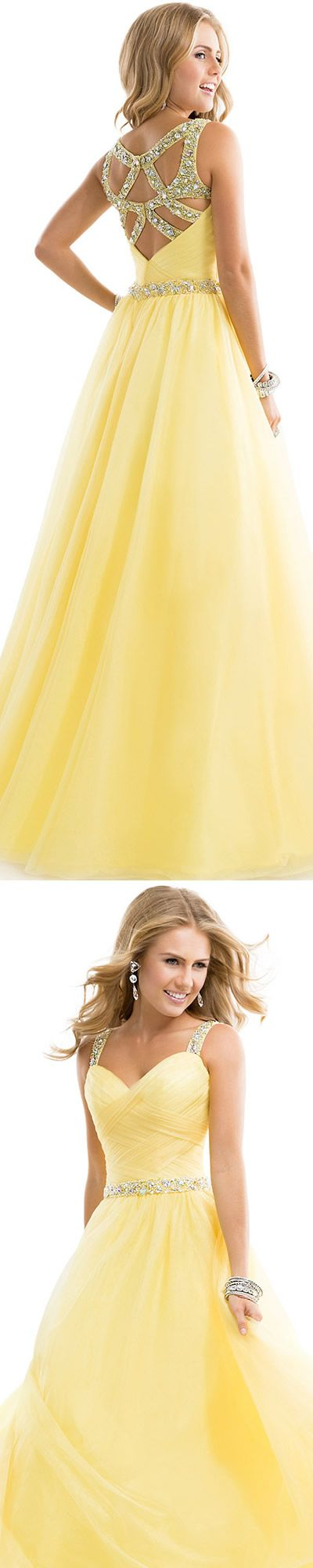 DIYouth.com Beading Embellishment Straps Floor Length Yellow Prom Dress Prom Dress Tulle Ball Gown With Jeweled Straps Yellow Open Back evening dresses,yellow party dress,backless evening gown,long prom dresses