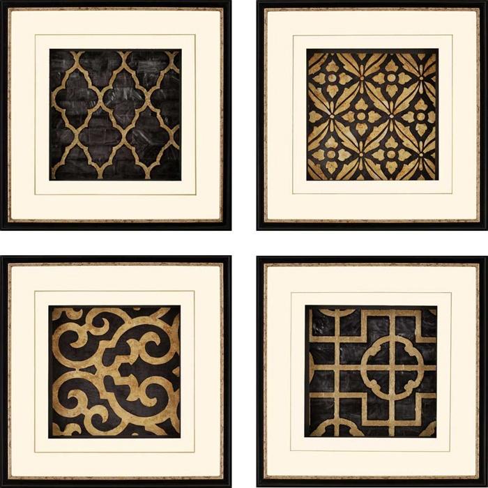 4 Piece Ebony Framed Print Set Bathroom Framed Wall