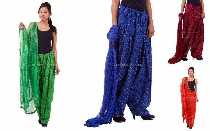 Indian Women Lahariya Print Patiala Salwar Pants With Dupatta Stole Set IW10013 #Handmade #PantSets