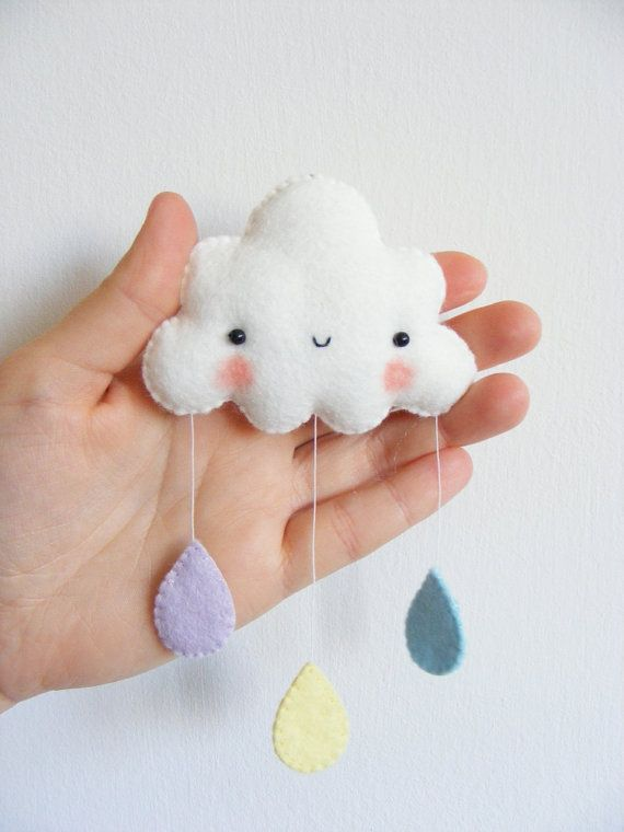 PDF pattern Rainbow and clouds baby crib mobile Felt