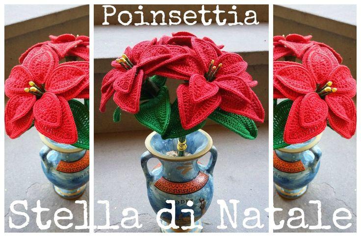 Stella di Natale all'uncinetto   How to crochet a poinsettia