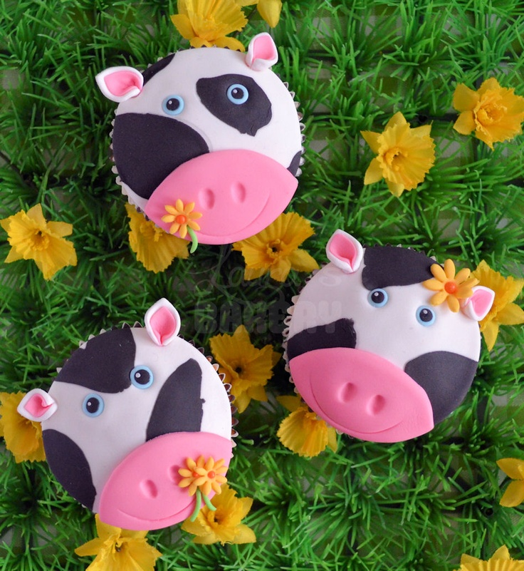Lauras Bakery: Op de boerderij: Koeien cupcakes