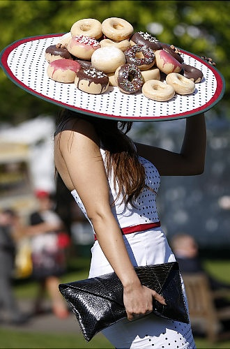 "Doughnut hat - so if you get hungry...Potential entry at the fair, ""food hat"""