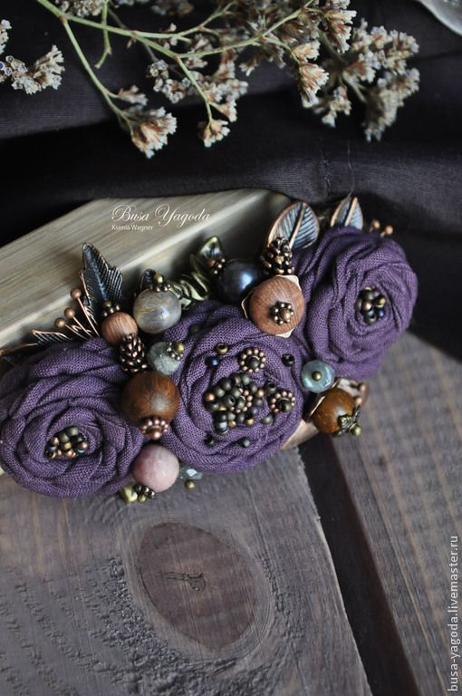 """Купить Брошь """"Пряный букет"""" - тёмно-фиолетовый, фиолетовая брошь, брошь с камнями"""