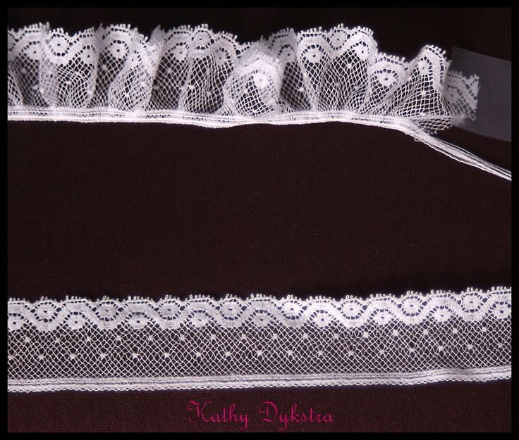 gather ALL the threads in the header of heirloom lace! Wow. How much easier to sew on