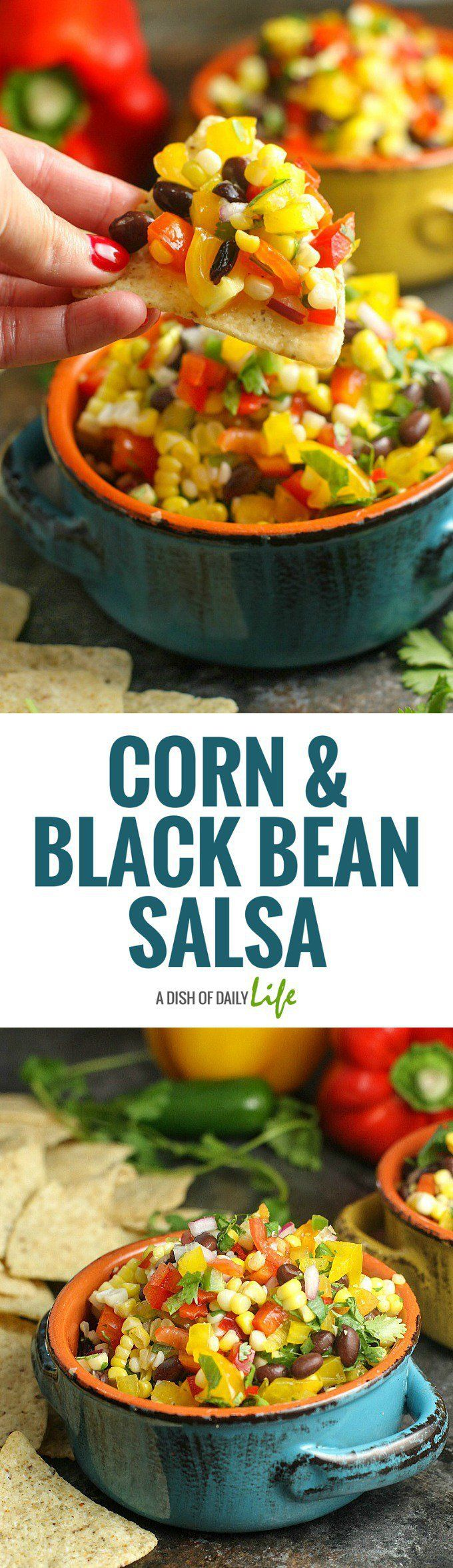 Corn Salsa with Black Beans is the perfect party appetizer for summer get-togethers...serve it with chips or as a salad side dish! Easy to make and healthy as well! Appetizer | Summer side dishes | Salad | Corn | Salsa | Mexican | Healthy | BBQ side dishes | Recipes for parties