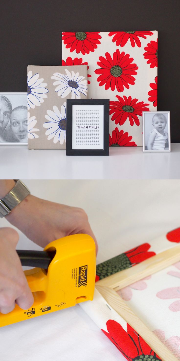 DIY Kangastaulu / Fabric cover canvas art // Kauniista kankaista syntyy uniikkeja taideteoksia. Kokoa pöydälle vaikka ryhdikäs asetelma lempikuoseistasi ja valokuvistasi. Kangastaulut on helppo tehdä itse pingottamalla ja nitomalla kangas puukehikkoon tai mihin tahansa levyyn. Kuvassa Kangastuksen punainen ja beige Daisy.