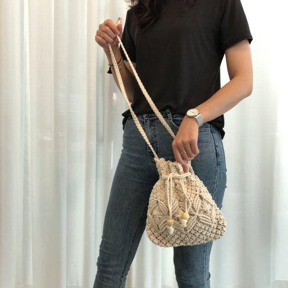 Cross body purse Crochet crossover macrame