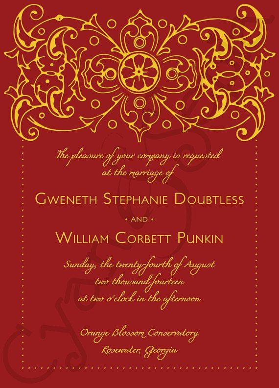 Printable Wedding Invitation 5x7 Bollywood Ornate Formal Etsy Hindu Wedding Invitations Indian Wedding Invitations Wedding Invitation Templates