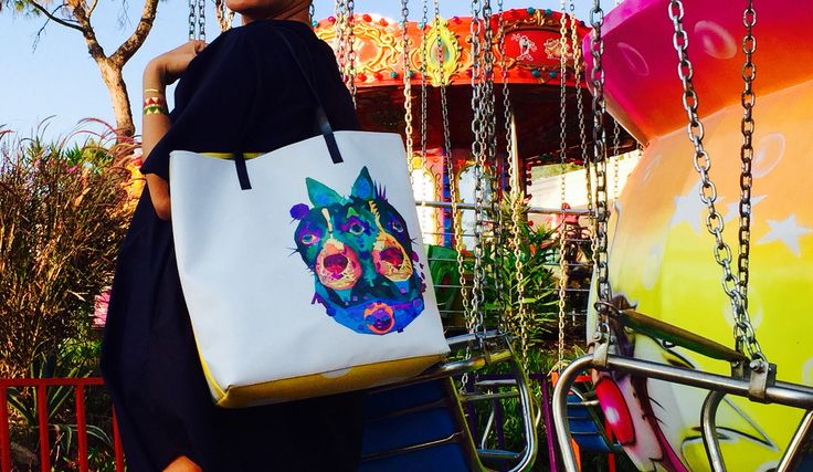 Tote bag with the two little dogs graphic print by kulik