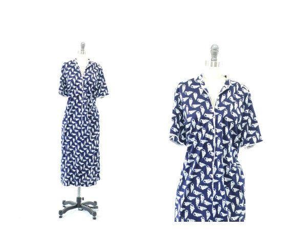 Navy Seashell Print Dress Vintage Blue Dress Plus by 830Vintage, $21