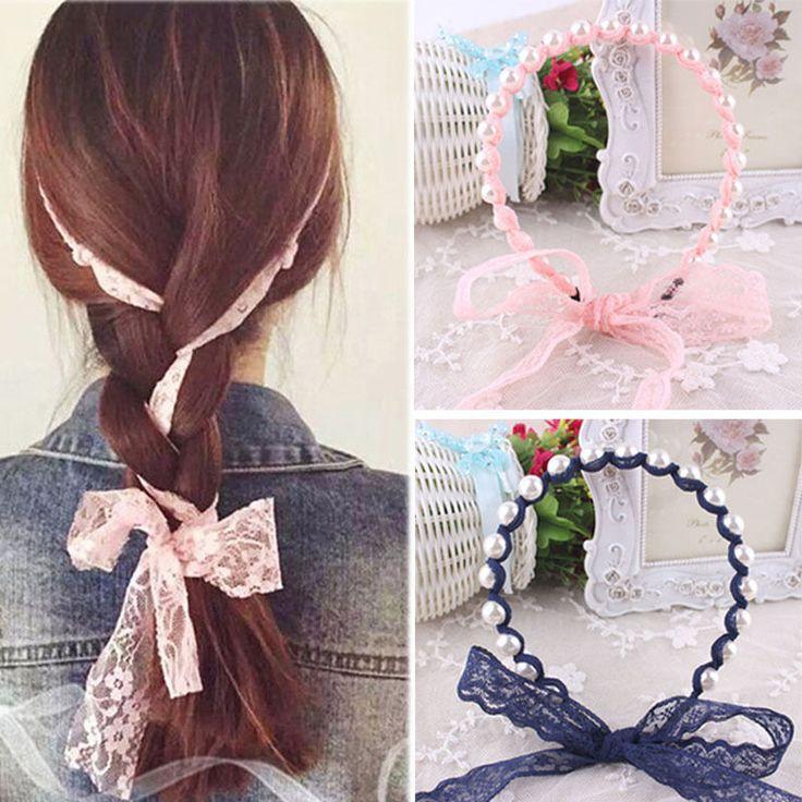 2017 donne fasce accessori per capelli pizzo estate stile imitato perla scrunchy hair bows fasce elastiche dei capelli del fiore hairbands