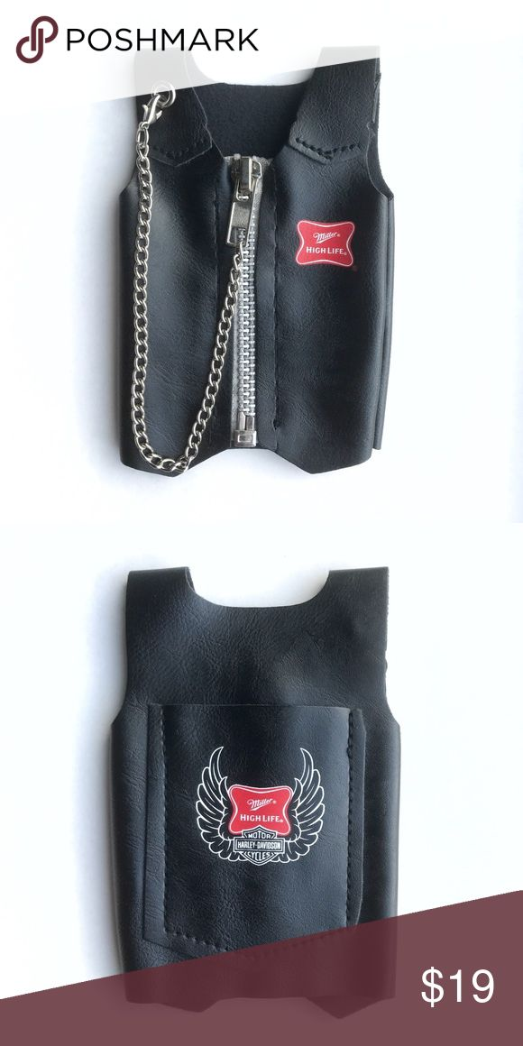 """Harley Miller High Life Koozie Harley Davidson Miller High Life Beer Koozie  • works for a can or bottle  • 5  1/2"""" tall x 3  1/2"""" across (7"""" all around) • keep your beer badass with this rad beer koozie motorcycle vest • faux / vegan leather material with functioning metal zipper and chain • tags: leather jacket, HD, biker babe, chick, rider, ride or die, open road, desert, ol lady, collectible, memorabilia, random, novelty, rad, backbite, zip, for life, champagne of beers, bud lite…"""