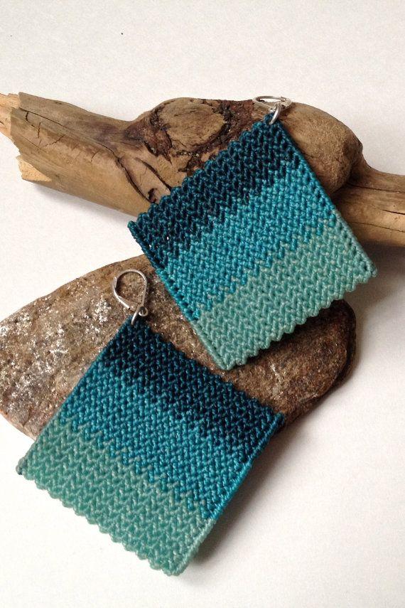 Turquoise Diamond Earrings by ByKateMoran on Etsy.