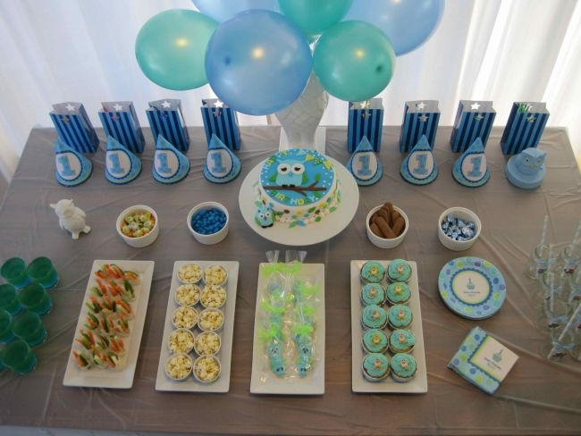 Boy party owl themed first birthday party spaceships for Baby boy 1st birthday decoration ideas