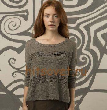 Свободный пуловер спицами для женщин, фото 1.