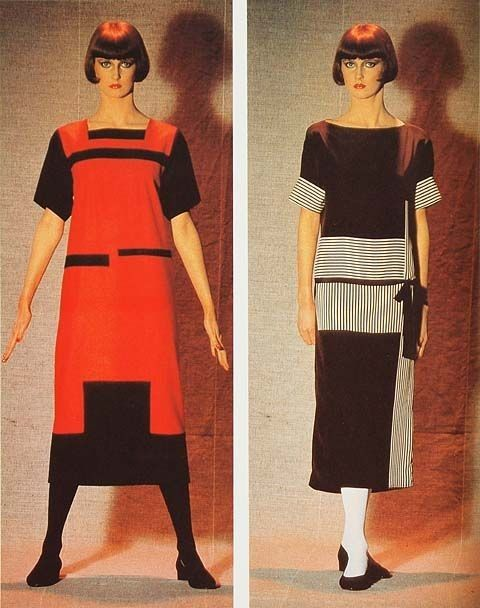 On the left: dress designed by Alexandra Exter in 1922. On the right: dress designed by Lyubov Popova