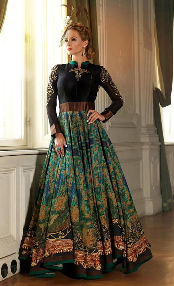 Printed Floor Length  A high collar printed floor length suit in pure georgette with gold applique embroidery around the sleeves
