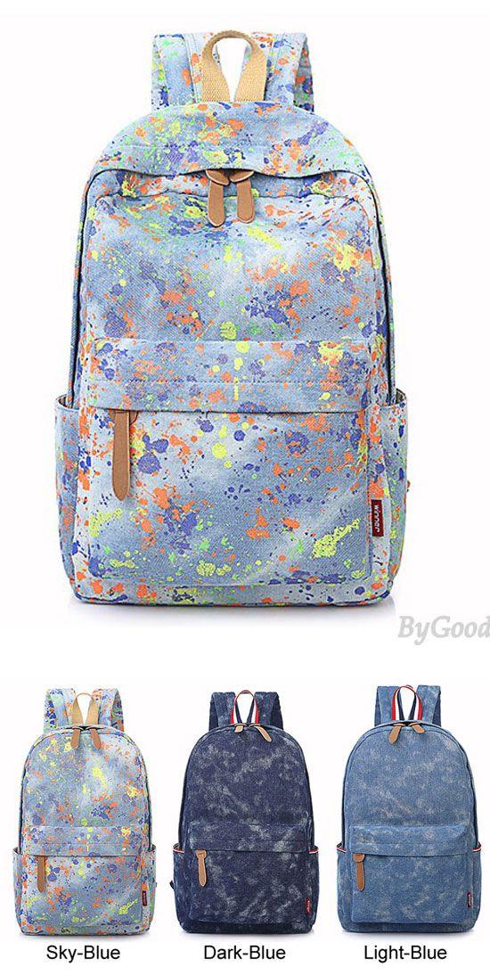 Which color do you like? Leisure Fresh Graffiti Inkjet Denim Color Bag School Bag Backpack #bag #denim #fresh #backpack #leisure #school #graffiti
