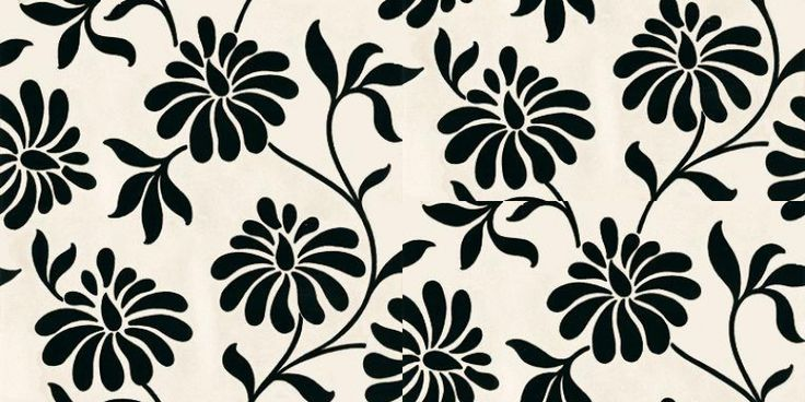 Ophelia (19419) - Barbara Hulanicki Wallpapers - A simple, pretty floral trail on a metallic lustre background.  Available in 7 colours shown here in moonlight - a rich black on opal white. Please ask for sample for true colour and texture.
