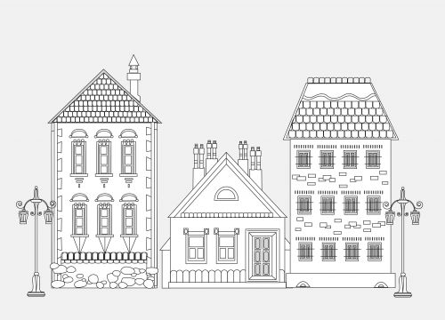 Amazing City House Coloring Page